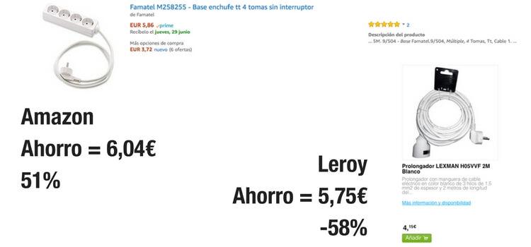 Precios alargador y base múltiple Leroy y Amazon