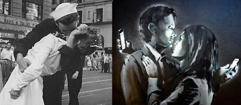 Banksy mobile lovers. Enfermera y marinero beso