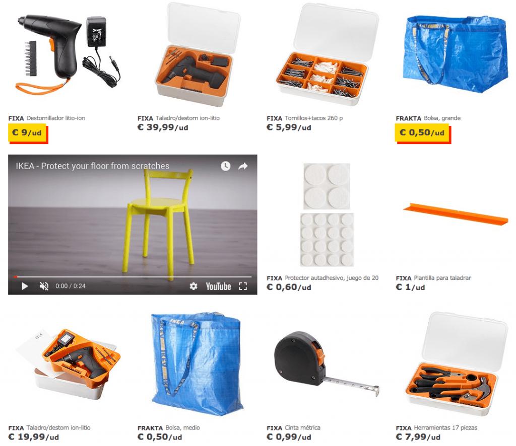 Área de bricolaje en la web de IKEA