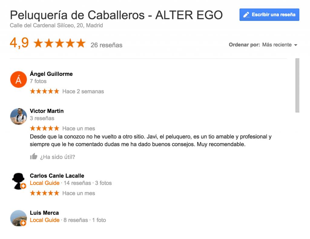 Opiniones Alter Ego Reputación online