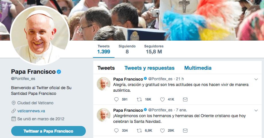 Perfil de Twitter del Papa Francisco