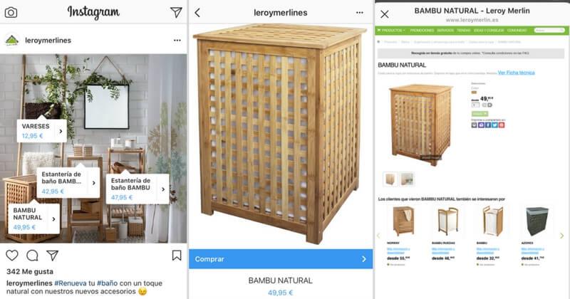 Proceso de venta nativa en Instagram