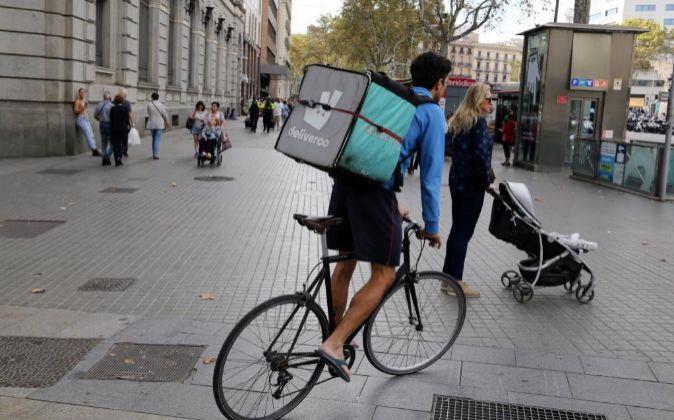 Ciclista Deliveroo en Madrid