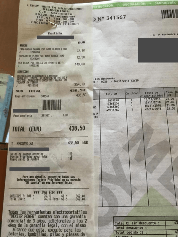 Ticket instalación de ventana en servicio de reformas de Leroy Merlin Majadahonda
