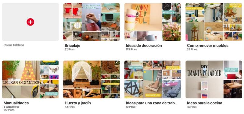 Cómo se organiza Pinterest en tableros