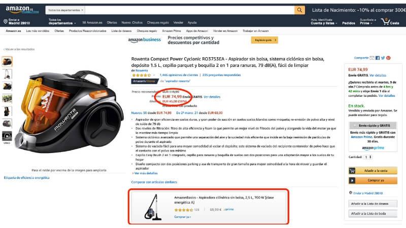 Aspirador Rowenta precio Amazon