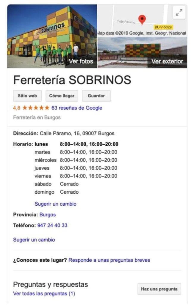 Ficha de Google My Business