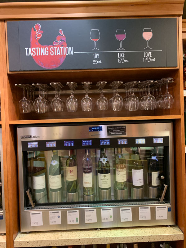 Dispensador de vinos en Whole Foods