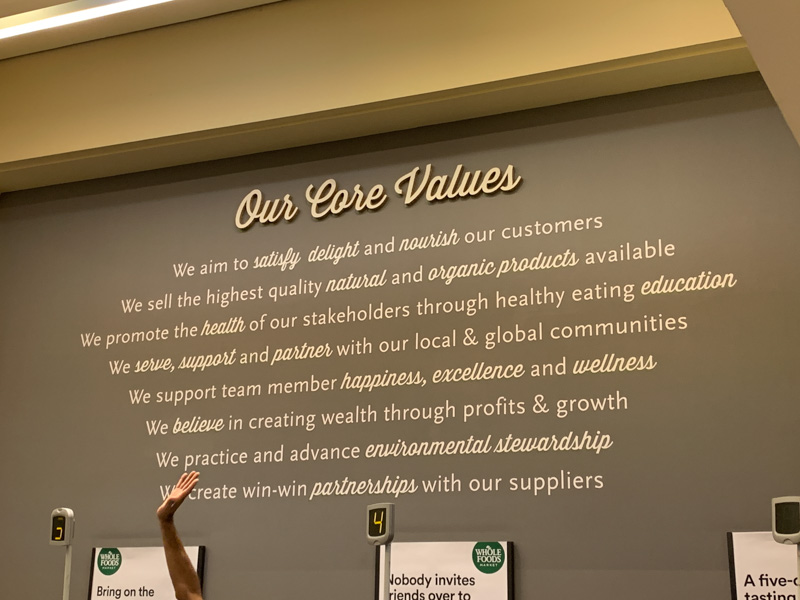 Valores en Whole Foods