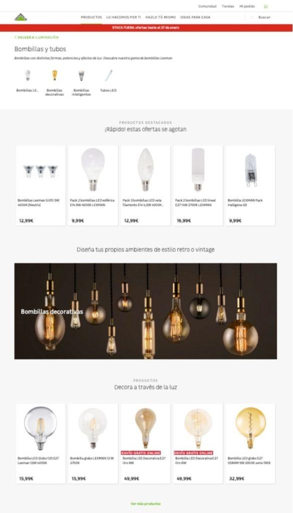 Nueva web de Leroy Merlin - iluminación