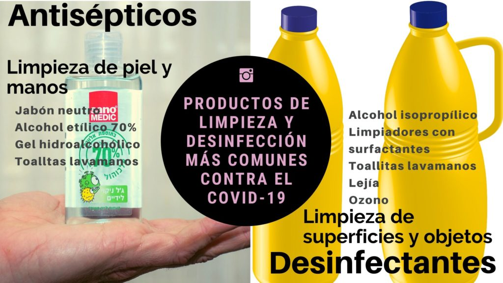 Productos de limpieza y desinfección más comunes contra el COVID-19