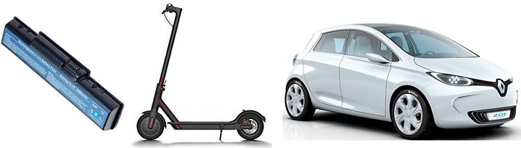 Baterías recargables para diferentes aplicaciones: un ordenador portátil, un patinete eléctrico y un vehículo eléctrico.