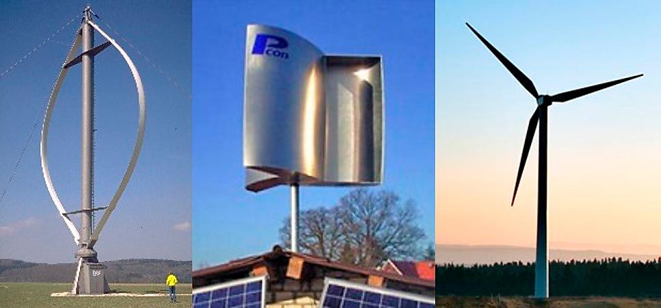 Los tres tipos de turbinas eólicas.