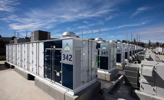 Almacenamiento de energía de batería de iones de litio en Escondido (California).