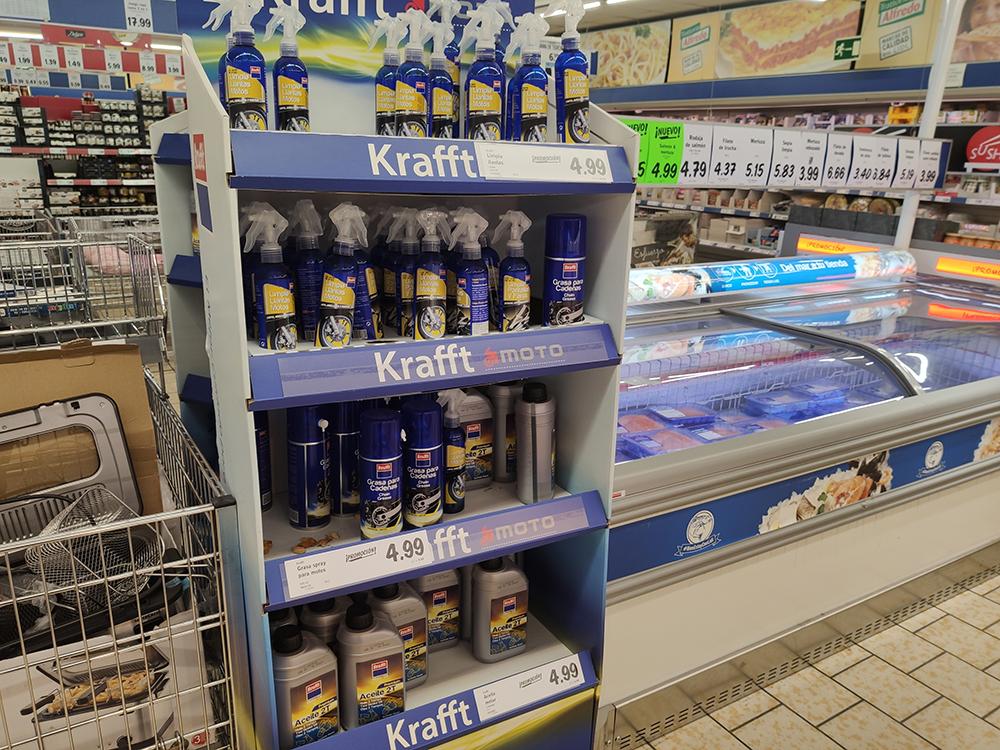 Lidl, exposición de productos Krafft