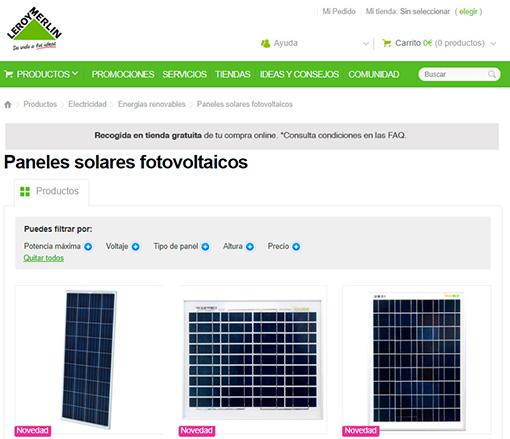 Leroy Merlin ya tiene a la venta en su página web materiales para paneles solares y otros productos para autoconsumo.